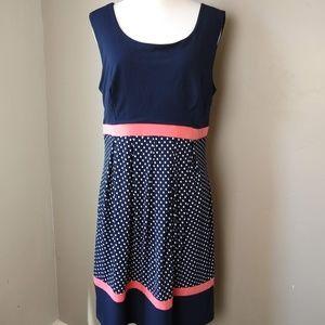 Enfocus Studio Navy Sleeveless Polka Dot Dress 14